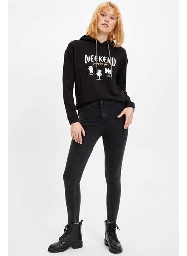 DeFacto Kapüşonlu Baskılı Sweatshirt Siyah